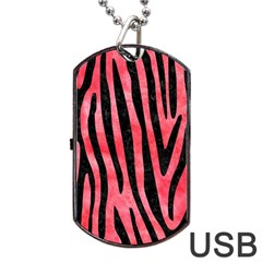 Skin4 Black Marble & Red Watercolor (r) Dog Tag Usb Flash (one Side) by trendistuff