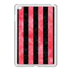 Stripes1 Black Marble & Red Watercolor Apple Ipad Mini Case (white) by trendistuff