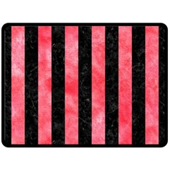Stripes1 Black Marble & Red Watercolor Double Sided Fleece Blanket (large)  by trendistuff