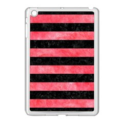 Stripes2 Black Marble & Red Watercolor Apple Ipad Mini Case (white) by trendistuff