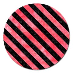 Stripes3 Black Marble & Red Watercolor Magnet 5  (round) by trendistuff
