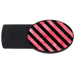 Stripes3 Black Marble & Red Watercolor Usb Flash Drive Oval (2 Gb) by trendistuff