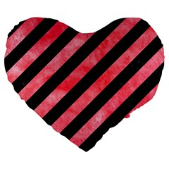 Stripes3 Black Marble & Red Watercolor (r) Large 19  Premium Flano Heart Shape Cushions by trendistuff