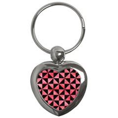 Triangle1 Black Marble & Red Watercolor Key Chains (heart)  by trendistuff