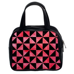 Triangle1 Black Marble & Red Watercolor Classic Handbags (2 Sides) by trendistuff