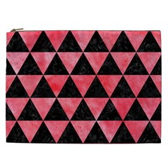 Triangle3 Black Marble & Red Watercolor Cosmetic Bag (xxl)  by trendistuff
