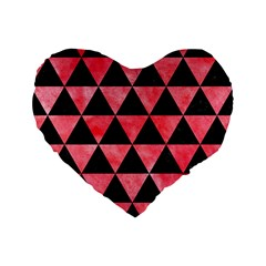 Triangle3 Black Marble & Red Watercolor Standard 16  Premium Flano Heart Shape Cushions by trendistuff