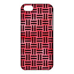 Woven1 Black Marble & Red Watercolor Apple Iphone 5c Hardshell Case by trendistuff