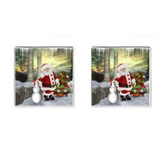 Sanata Claus With Snowman And Christmas Tree Cufflinks (square) by FantasyWorld7