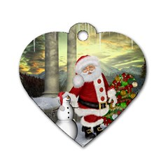 Sanata Claus With Snowman And Christmas Tree Dog Tag Heart (one Side) by FantasyWorld7