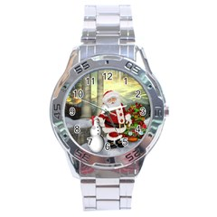Sanata Claus With Snowman And Christmas Tree Stainless Steel Analogue Watch by FantasyWorld7