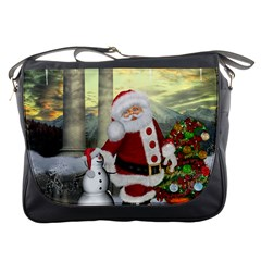 Sanata Claus With Snowman And Christmas Tree Messenger Bags by FantasyWorld7