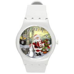 Sanata Claus With Snowman And Christmas Tree Round Plastic Sport Watch (m) by FantasyWorld7