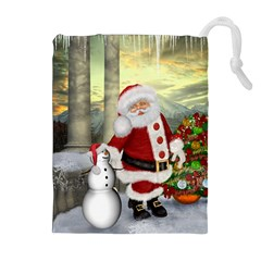 Sanata Claus With Snowman And Christmas Tree Drawstring Pouches (extra Large) by FantasyWorld7