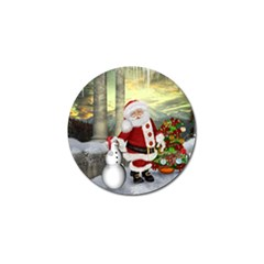 Sanata Claus With Snowman And Christmas Tree Golf Ball Marker by FantasyWorld7