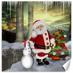 Sanata Claus With Snowman And Christmas Tree Canvas 16  X 16   by FantasyWorld7
