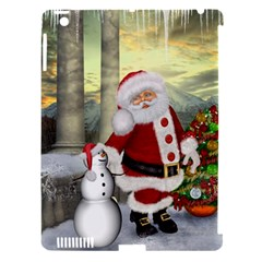 Sanata Claus With Snowman And Christmas Tree Apple Ipad 3/4 Hardshell Case (compatible With Smart Cover) by FantasyWorld7