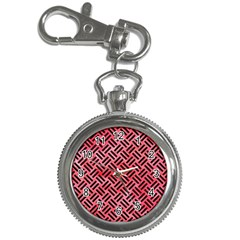 Woven2 Black Marble & Red Watercolor Key Chain Watches by trendistuff