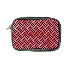 Woven2 Black Marble & Red Watercolor Coin Purse by trendistuff