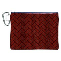 Brick2 Black Marble & Red Wood Canvas Cosmetic Bag (xxl) by trendistuff