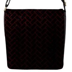 Brick2 Black Marble & Red Wood (r) Flap Messenger Bag (s) by trendistuff