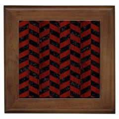 Chevron1 Black Marble & Red Wood Framed Tiles by trendistuff