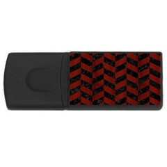 Chevron1 Black Marble & Red Wood Rectangular Usb Flash Drive by trendistuff