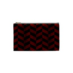 Chevron1 Black Marble & Red Wood Cosmetic Bag (small)  by trendistuff