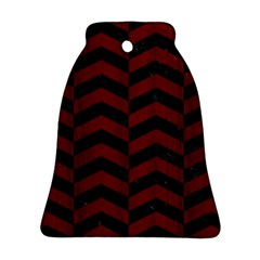 Chevron2 Black Marble & Red Wood Bell Ornament (two Sides) by trendistuff