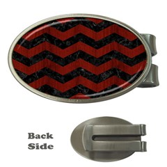 Chevron3 Black Marble & Red Wood Money Clips (oval)  by trendistuff