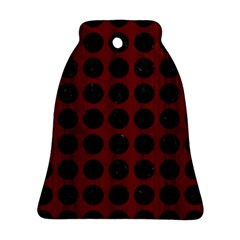 Circles1 Black Marble & Red Wood Bell Ornament (two Sides) by trendistuff
