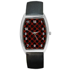 Circles2 Black Marble & Red Wood Barrel Style Metal Watch by trendistuff