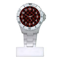 Circles2 Black Marble & Red Wood Plastic Nurses Watch by trendistuff
