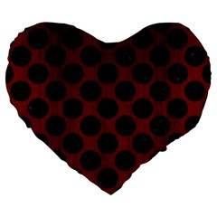 Circles2 Black Marble & Red Wood Large 19  Premium Flano Heart Shape Cushions by trendistuff