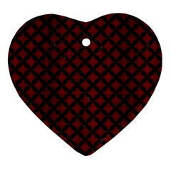 Circles3 Black Marble & Red Wood Ornament (heart) by trendistuff