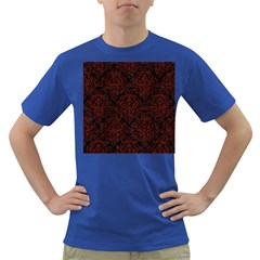 Damask1 Black Marble & Red Wood (r) Dark T Shirt by trendistuff