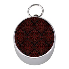 Damask1 Black Marble & Red Wood (r) Mini Silver Compasses by trendistuff
