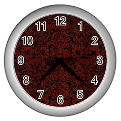 Damask2 Black Marble & Red Wood (r) Wall Clocks (silver)  by trendistuff