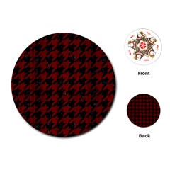 Houndstooth1 Black Marble & Red Wood Playing Cards (round)  by trendistuff