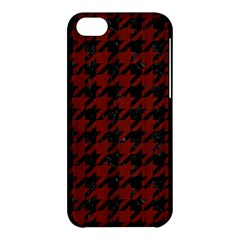 Houndstooth1 Black Marble & Red Wood Apple Iphone 5c Hardshell Case by trendistuff