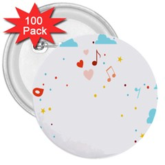 Music Cloud Heart Love Valentine Star Polka Dots Rainbow Mask Sky 3  Buttons (100 Pack)  by Alisyart