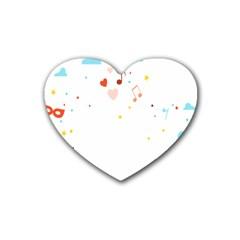 Music Cloud Heart Love Valentine Star Polka Dots Rainbow Mask Sky Rubber Coaster (heart)  by Alisyart