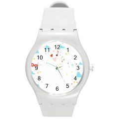 Music Cloud Heart Love Valentine Star Polka Dots Rainbow Mask Sky Round Plastic Sport Watch (m) by Alisyart
