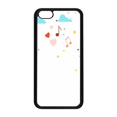 Music Cloud Heart Love Valentine Star Polka Dots Rainbow Mask Sky Apple Iphone 5c Seamless Case (black) by Alisyart