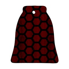 Hexagon2 Black Marble & Red Wood Bell Ornament (two Sides) by trendistuff