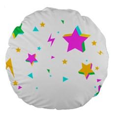 Star Triangle Space Rainbow Large 18  Premium Round Cushions by Alisyart