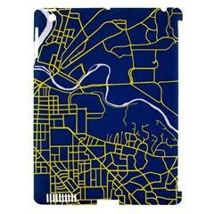 Map Art City Linbe Yellow Blue Apple Ipad 3/4 Hardshell Case (compatible With Smart Cover) by Alisyart