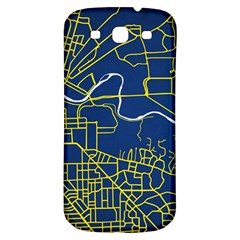 Map Art City Linbe Yellow Blue Samsung Galaxy S3 S Iii Classic Hardshell Back Case by Alisyart