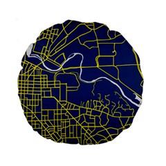 Map Art City Linbe Yellow Blue Standard 15  Premium Round Cushions by Alisyart