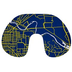 Map Art City Linbe Yellow Blue Travel Neck Pillows by Alisyart